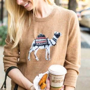 J. Crew Cashmere Merino Wool Blend Camel Sweater